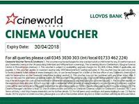 4 x £7 Cineworld cinema ticket vouchers