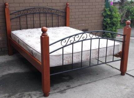beautiful metal and timber queen bed frame and mattress