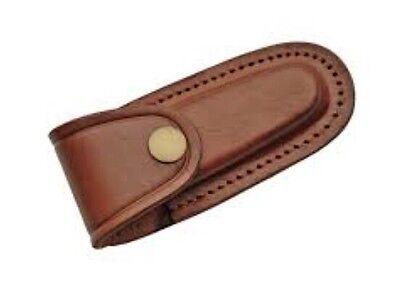 """Folding Pocket Knife Sheath 4""""  Smooth Brown Genuine Leather Belt Case"""