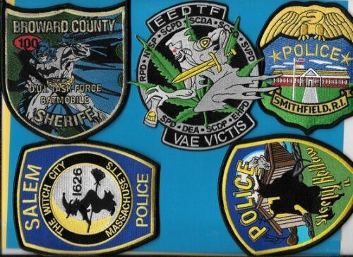 LOT OF 5 POLICE PATCH LOT OF smithfield Sleepy Hollow EEDTF Drug Salem  DUI TASK