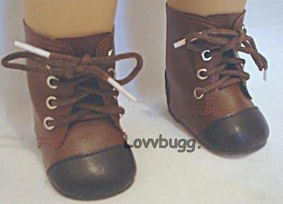 "Lovvbugg New Brown 2 Tone Boots for 18"" American Girl or Boy or Bitty Baby Doll Shoes"