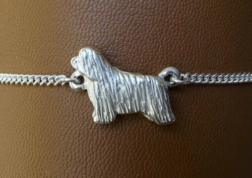 Sterling Silver Bearded Collie Standing Study Anklet