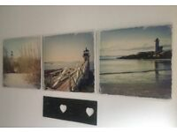 Next canvas x 3- lighthouse and seaside theme