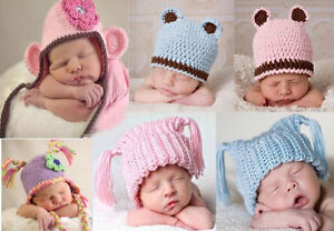 Lovely-Cute-Gorgeous-Newborn-Baby-Boy-Girl-Knit-Hat-Beanie-Cap-New-14-Color-Gift
