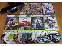 19 XBOX 360 Games + Kinect Sensor Job Lot