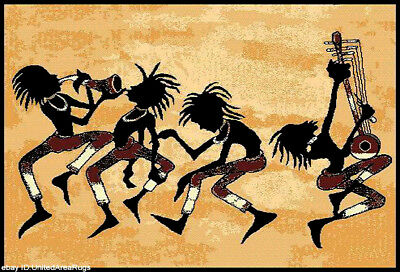 Music Rug (5x7 Area Rug Kokopelli Tribal Dance Carpet Music Dancing People)
