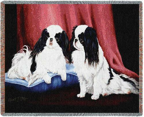 Throw Tapestry Afghan - Japanese Chin Pair by Robert May 1440 IN STOCK