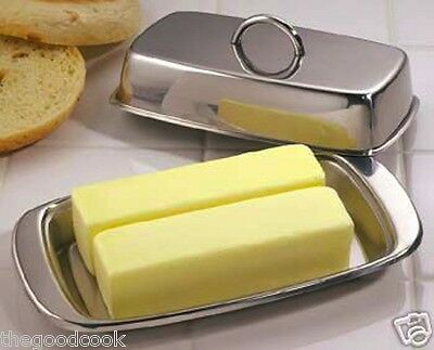 New Double Butter Dish Table Serving Tray Storage Stainless Steel by Norpro 282