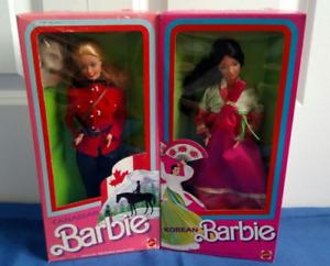 Dolls of the World Korean& Canadian Barbie 1987