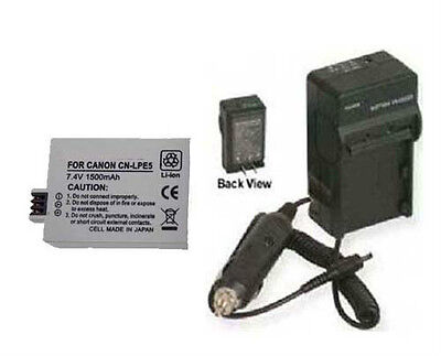 Lp-e5 Lpe5 Battery + Charger For Canon Eos 450d 500d 1000...
