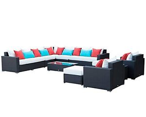 Patio Rattan Sofa Furniture Set / 11 pcs Patio Furniture Outdoor