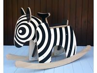 Amazing handmade wooden rocking zebra