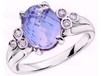 EXQUISITE 9CT WHITE GOLD LARGE BLUE TOPAZ SOLITAIRE & DIAMOND RING. SIZE M 1/2 (NEW IN BOX) RRP £500