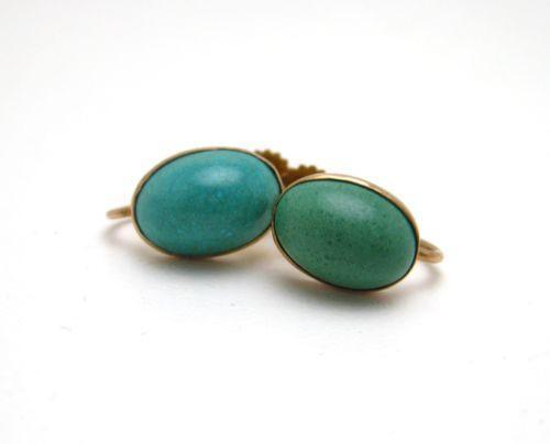antique gold turquoise earrings ebay. Black Bedroom Furniture Sets. Home Design Ideas