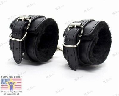 Black Faux Leather Soft Fur Handcuffs Ankle Cuffs Role Play Set For Couples (Couples Costums)