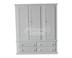 Handmade Sandra 3 Door + 4 Drawer Wardrobe White (Assembled) ANY COLOUR/ SIZE