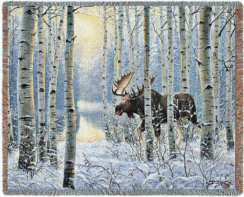 Throw Tapestry Afghan - On The Move (Moose) 4726