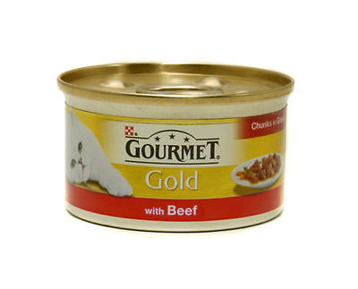 Purina Gourmet Gold Beef in Gravy Wet Cat Food Tins 12 x 85g Cans Bulk Buy
