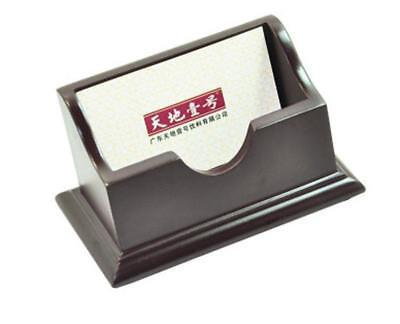 Wood Business Card Holder Case Office Home Desk Storage Box Dark Brown