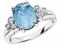 EXQUISITE 9CT WHITE GOLD BLUE TOPAZ AND DIAMOND RING, SIZE M 1/2, BRAND NEW IN BOX