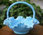Basket Blue Vintage Original Fenton Art Glass