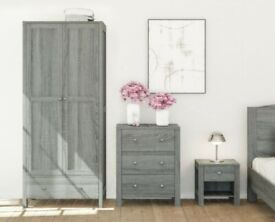 New Ash Grey Wardrobe Chest of Drawers & Bedside Table Bedroom Storage Furniture (B239+ B237 +R230)