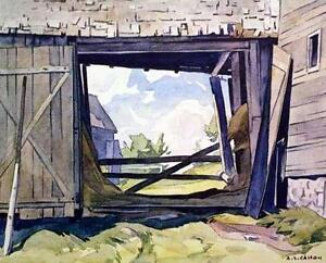 """A.J. Casson """"Barn at Baptiste"""" Lithograph appraised at $575"""