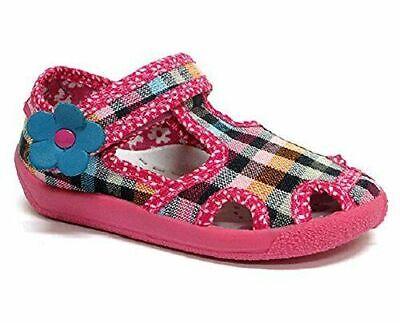 Bebé Zapatos de Lona para Niña -nursery Pantuflas Sandalias Talla #21 uk3.5...