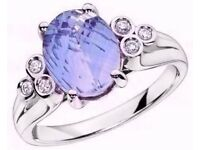 EXQUISITE 9CT WHITE GOLD LARGE BLUE TOPAZ SOLITAIRE & DIAMOND RING. SIZE M 1/2 (NEW IN BOX) RRP £550