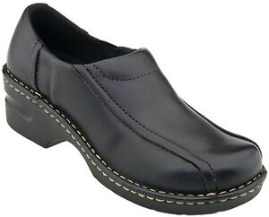 NEW-Womens-EASTLAND-TRACIE-Black-Leather-Clogs-Slip-On-Loafers-Dress-Shoes