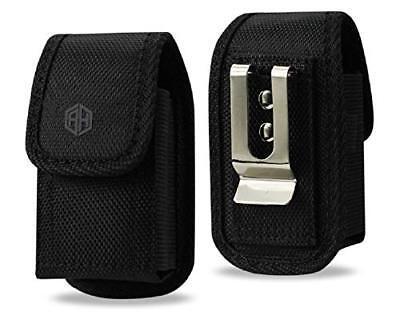 Premium AH Vertical Black Flip Phone Belt Pouch Case, Waist Belt Loop - Black Vertical Flip Case