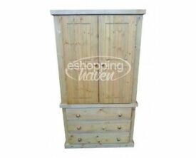 Handmade Sandra 2 Door + 3 Drawer Wardrobe Solid Pine Olde Antique Wax (Assembled)