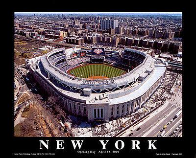 New York Yankees NEW YANKEE STADIUM OPENING DAY Premium Aerial View Poster (Aerial View Yankee Stadium)