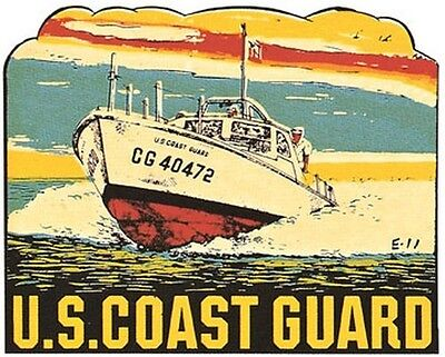 US Coast Guard   Vintage  1950's Style Travel Decal sticker USCG military (Us Coast Guard Decals)