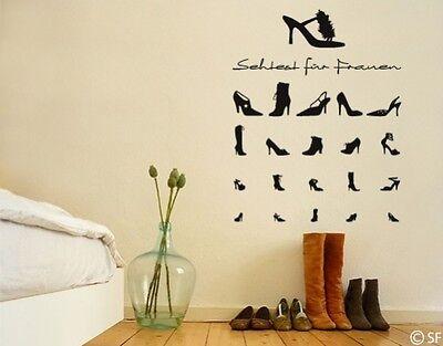Wandtattoo Schuhe Sehtest für Frauen Flur Diele Wandaufkleber Sticker uss259