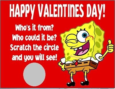 Spongebob Valentine's Day Party Favor Scratch Off Cards Tickets Personalized](Valentine's Day Spongebob)