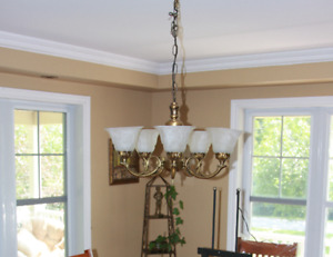 3 light fixtures, antique brass finish sold as set or separately