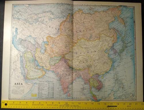 1904 Asia Monarch Standard Atlas Map 16 inch x 22  inch Beautiful Color M65