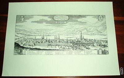 Klagenfurt alte Ansicht Merian Druck Stich 1650 Panoram