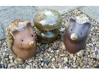 Hedgehogs & Toadstool Garden Ornaments glazed stoneware outdoor lawn statue animal sculpture