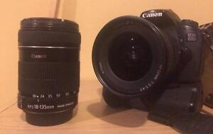 Canon 60D (w/ 2 EF-S lenses, Battery Grip, 3 extra batteries)