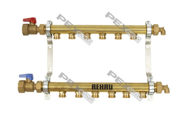 6 Circuit Brass Radiant Floor Heat Manifold for PEX Pipe (HLV6)