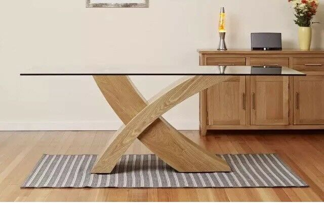 Dining Table Glass Top Oak X Cross Legs Room Furniture Modern 6 Chairs
