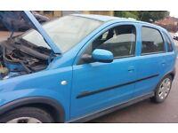 Vauxhall Corsa N/S Front Door In Blue Breaking For Parts (2002)
