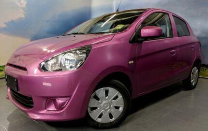 2013 Mitsubishi Mirage LA MY14 ES Pretty In Pink/grey 1 Speed Constant Variable Hatchback