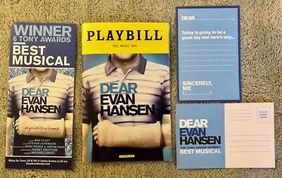 Dear Evan Hansen Xmas package *Ben playbill* *DEH post card and DEH Flyer*