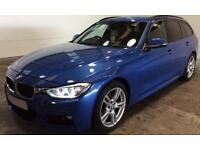 Blue BMW 320d M Sport Estate Leather 2013 FROM £77 PER WEEK !