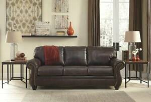 Genuine Leather Sofa Bed Brown