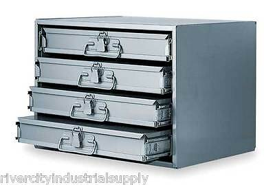 Metal 24 Hole Storage Tray Cabinet And Slide Rack With Four Drawers