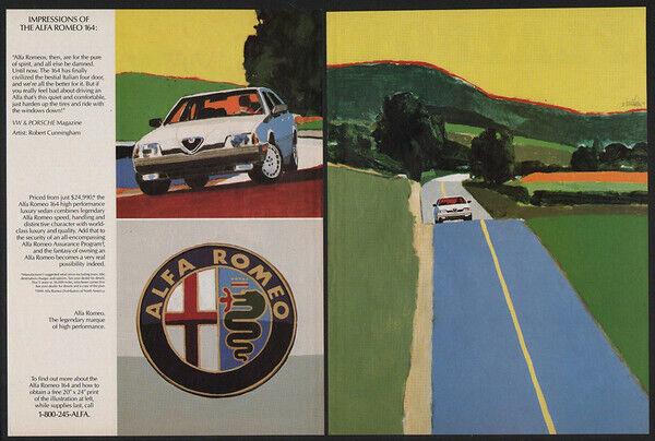 1991 White ALFA ROMEO 164 Sports Car - Art - 2 Page VINTAGE AD